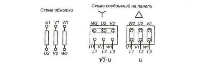 Схема подключения для односкоростных электродвигателей с соединением в звезду (Y), в треугольник (D) или.